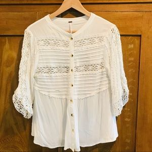 Free people button up boho blouse  size Med